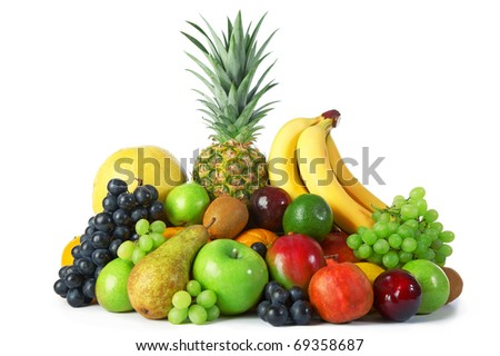 Ripe fresh fruit on white background