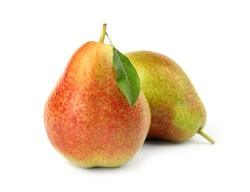 Ripe fresh juicy pears isolated on white