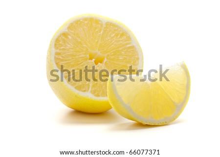 Ripe fresh lemon. Isolated on white background