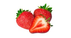 Ripe fresh strawberries were placed on white background