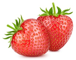 Ripe fresh strawberry clipping path. Strawberry fresh organic fruit. Two strawberries isolated on white background.