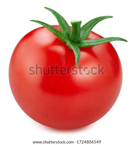 Ripe fresh tomato clipping path. Tomato isolated on white background..
