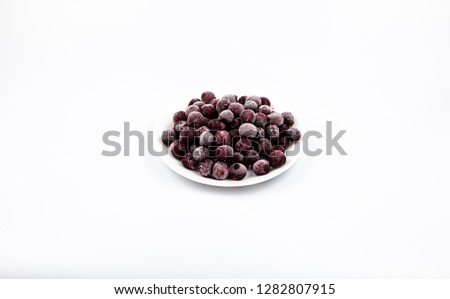 ripe frozen cherry on white frost frost frost frost fruit red #1282807915