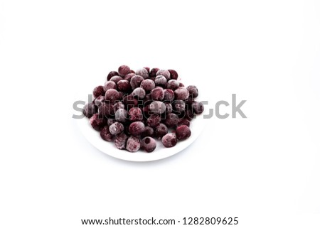 ripe frozen cherry on white frost frost frost frost fruit red #1282809625
