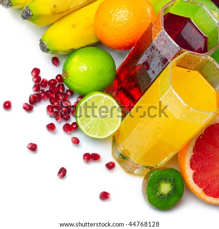 Ripe fruits and glasses with juice