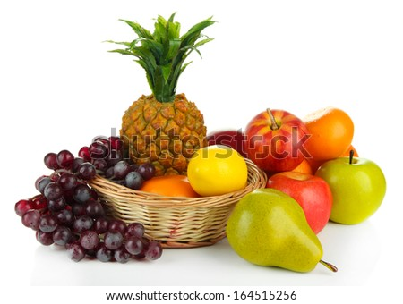 Ripe fruits in basket isolated on white