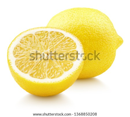 Ripe full yellow lemon citrus fruit with lemon half isolated on white background with clipping path. Full depth of field.