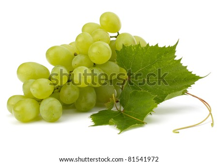 Ripe grape with leaf isolated on white background