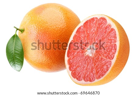 Ripe grapefruit with leaf. Isolated on a white.