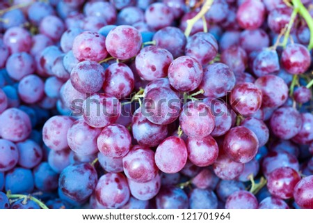 ripe grapes at a street market