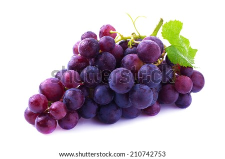Ripe grapes isolated on white.