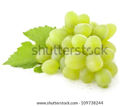 Ripe grapes with leaves, Isolated on white background