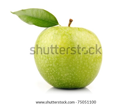 Ripe green apple fruit with leaf isolated on white background