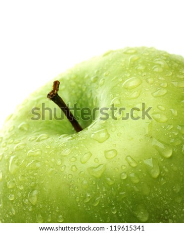 Ripe green apple isolated on white