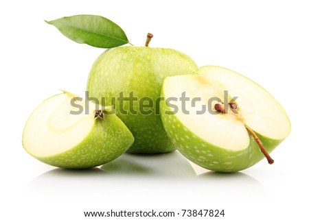 Ripe green apple with slices isolated on white background
