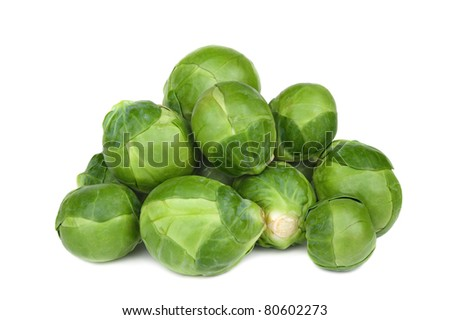Ripe Green brussel sprouts isolated on white background