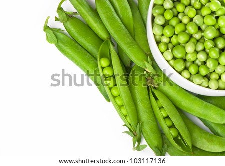 Ripe green pea vegetable isolated on white background - stock photo