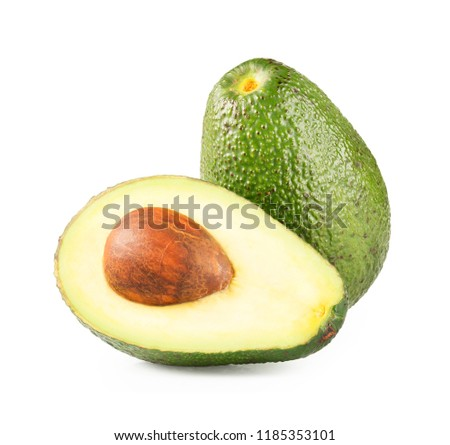 Ripe half avocado isolated on white background