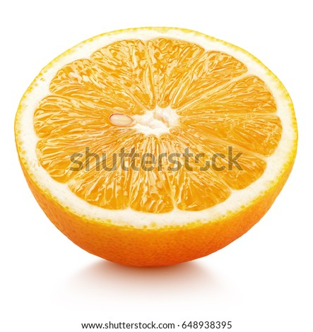 Ripe half of orange citrus fruit isolated on white background. Orange half with clipping path #648938395