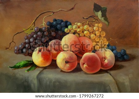 ripe juicy peaches and grapes on the table,handmade painting, oil painting on canvas, fine art, still life, food, vegetarian, dessert, fruit Foto stock ©