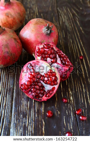 ripe juicy pomegranates, food