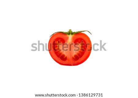ripe juicy tomatoes cut on a white background Сток-фото ©