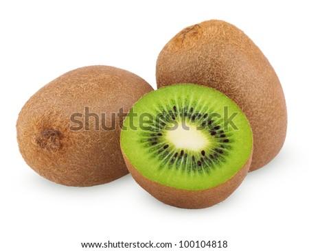 Ripe kiwi fruits with half isolated on white background