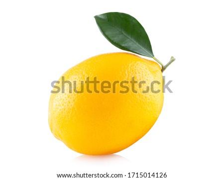 Ripe lemon with leaf and slice isolated on white background