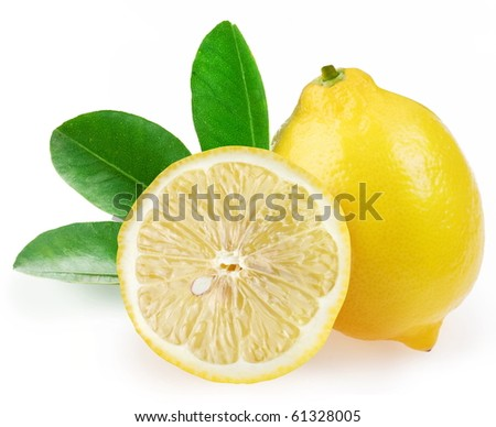 Ripe lemon with slices and leaves on a white background.