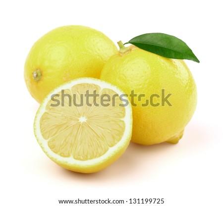 Ripe lemons with leaf