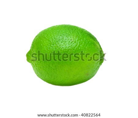 Ripe lime isolated on white background.