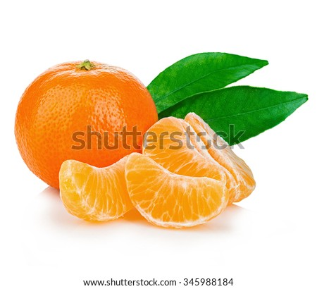 Ripe mandarin with leaves close-up on a white background. Tangerine orange with leaves on a white background.  ストックフォト ©