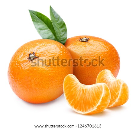 Ripe mandarines with leaves, isolated on white background