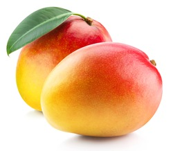 Ripe mango isolated on white. Mango Clipping Path. Professional studio macro shooting