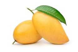 Ripe Mango with green leaf isolated on white background. Clipping path.