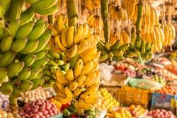 Ripe mangoes stacked at a local fruit and vegetable market in Kenya, Nairobi