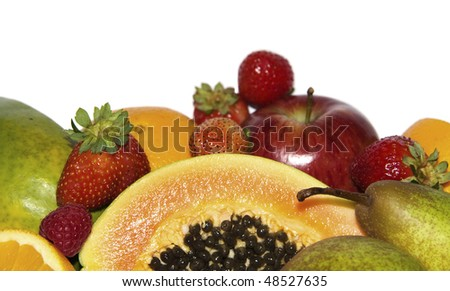 Ripe of fresh fruit, isolated on white background #48527635