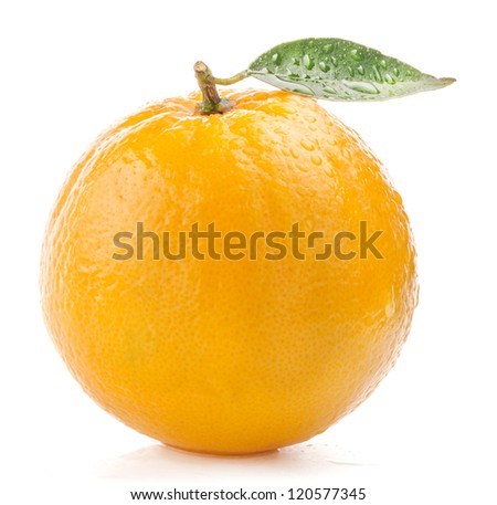 Ripe orange fruit with leaf and water drops isolated on white background
