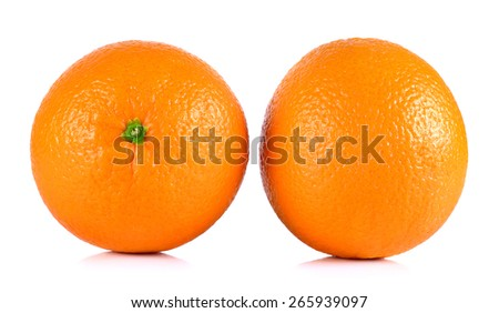 Ripe orange isolated on white background.