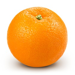 Ripe orange isolated on white background + Clipping Path