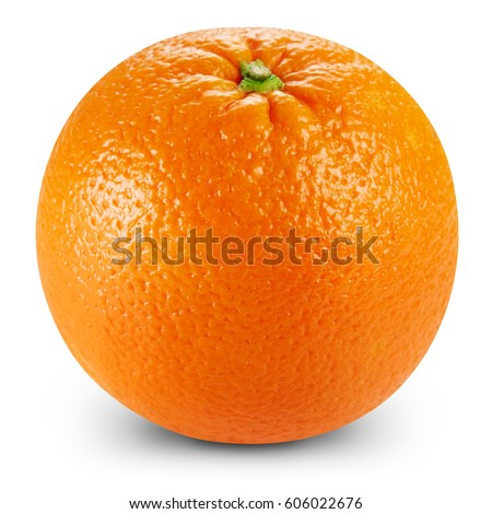 Ripe orange isolated on white background Clipping Path #606022676