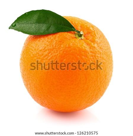 Ripe orange with leaf - stock photo