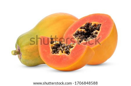 ripe papaya fruit isolated on white background full depth of field Stockfoto ©