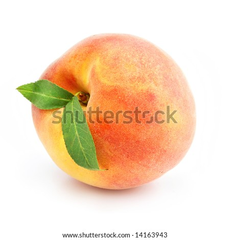 ripe peach fruit with green leafs isolated on white background