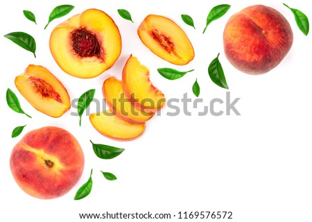 ripe peaches with leaves isolated on white background with copy space for your text. Top view. Flat lay pattern