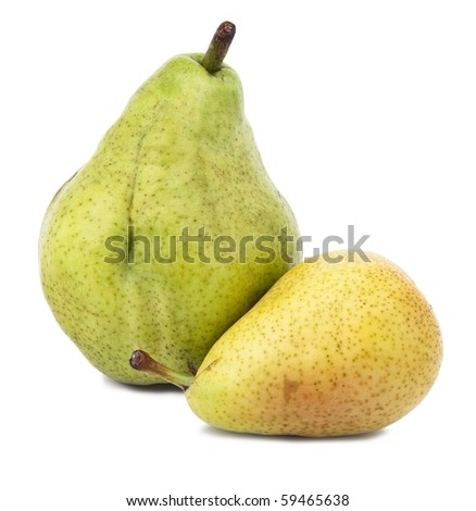 Ripe pear closeup on white background.