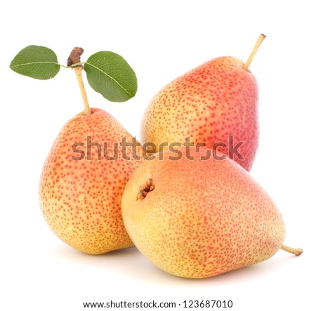 Ripe pear fruit isolated on white background cutout