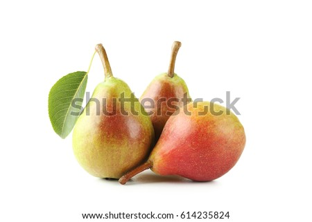 Ripe pears isolated on a white