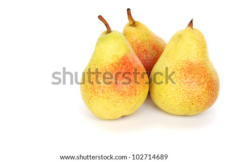 Ripe pears isolated on white background.