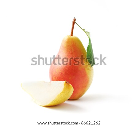Ripe pears, whole and cut isolated on white background